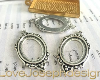 20 Pieces /Lot Antique Silver Plated 18mmx25mm oval cabochon bezel trays charms