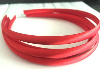 10pieces red satin plastic hair headband covered 10mm wide