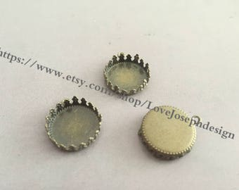 Wholesale 20 Pieces /Lot Antique Bronze Plated 15mm crown edged cabochon blanks trays charms(#0255)