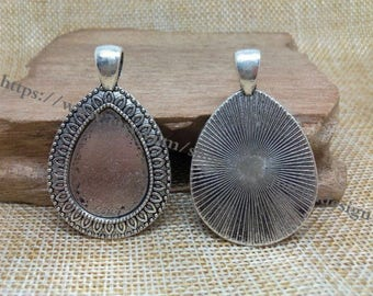 wholesale 50 Pieces /Lot Antique silver & bronze Plated 18mmx25mm cabochon Tear Drop bezel trays charms(#0469)