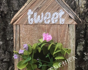 RUSTIC Birdhouse, Birdhouse, Rustic spring decor, Rustic decor, Wreath attachment, Rustic Sign, Wreath Sign, Wreath attachment, Wall Sign, D