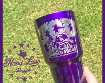 TCU Horned Frogs custom etched Yeti/RTIC/Ozark 20oz and 30oz customized personal powdercoated tumbler