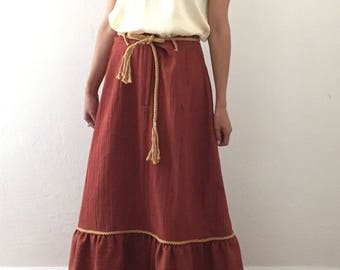 Vintage - 1970's - Shelly's Tall Girls Shop Peasant Skirt - Women's 18