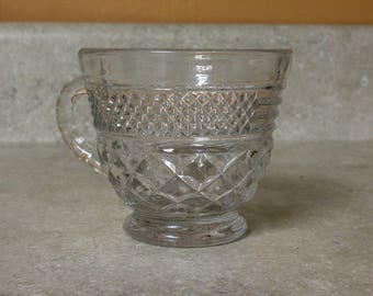 "One Punch/Tea/Coffee/Snack Cup in ""Wexford - Clear"" by Anchor Hocking; Diamonds CrissCross Pattern; Sparkles; Vintage"