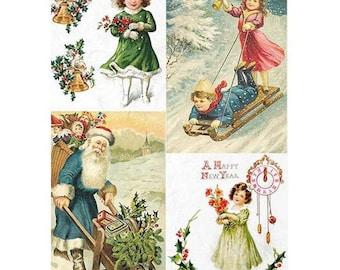 1 sheet of rice paper 21 x 28 cm decoupage collage Christmas RETRO 779