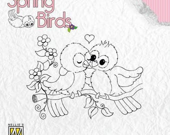 Stamp clear transparent scrapbooking NELLIE's CHOICE birds on branch