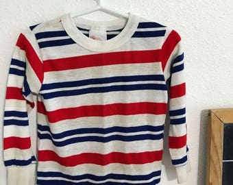 90s long sleeve shirt, vintage red white and blue shirt, 4t vintage clothes, stripped 4t shirt, vinatge stripped shirt