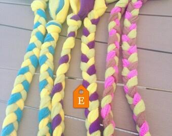 long fleece dog tug braid / toy / agility / flyball