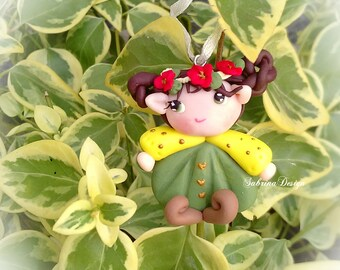 Elf girl polymer clay charm Christmas tree ornament special miniature gift