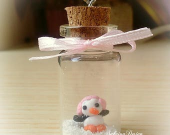 Glass bottle penguin with snow polymer clay charm Christmas tree ornament special miniature gift