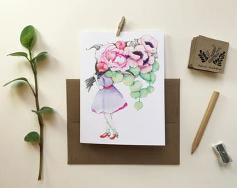 Greeting card / wife florist Anemones / greeting card / blank card / vintage floral Bouquet / Katrinn Pelletier