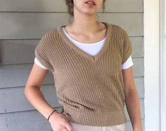 Vintage 90s Minimal Taupe Chunky Cotton Capped Sleeve Sweater | S