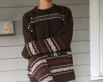 Vintage 80s Cotton FieldMaster Relaxed Fit Fair Isle Sweater | XL