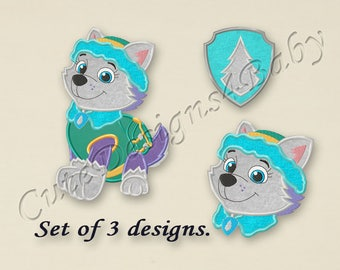 SALE! SET, Paw Patrol Everest applique embroidery design, Paw Patrol Machine Embroidery Designs, Embroidery designs for baby, 3 designs #061