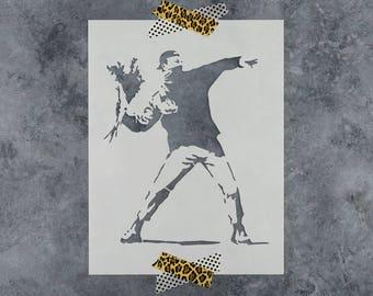 Rage Flower Thrower Banksy Stencil - Reusable DIY Craft Stencils of Banksy Flower Thrower