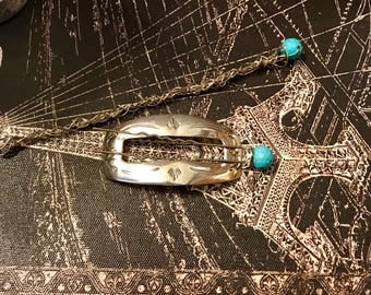 Vintage Sterling Silver Native American Hair Clip with homemade hair sticks.