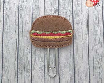 Burger planner clip - Planner clips - Paper clips - Stationery - felt - UK seller - organiser accessories - bookmark