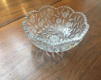 hand cut lead crystal bowl, vine/leaves/flowers pattern