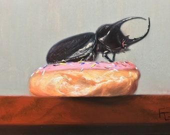 Original Oil Painting, Still Life, 5 x7, Doughnut and Beetle