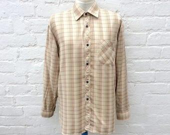 Flannel shirt, oversized 90's beige plaid, women's fashion