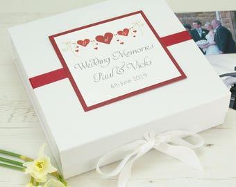 Personalised Heart String Wedding Keepsake Memory Box