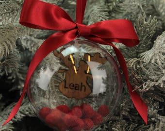 Personalised Reindeer Christmas Tree Bauble Decoration