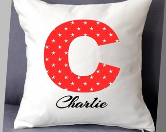"""Personalised name letter cushion cover 16""""x16"""" (40cmx40cm) gift birthday children child bedroom"""