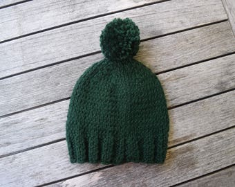 Handmade Knit Winter Hat With Pom Pom