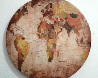 Free Shipping- Round Wall Art - world map - printed on A Faux leather -Special picture for home