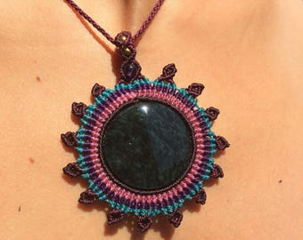Macrame Sun with Rainbow Obsidian