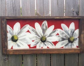 RENAISSANCE DAISY. Reverse Painted Daisy on a Recycled Window Ready to Hang Indoor or Out