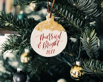 Custom Gold Leaf Ornament / Clay Ornament / Calligraphy Ornament / Handlettered Ornament / Christmas Wedding Favor / Custom Wedding Favor