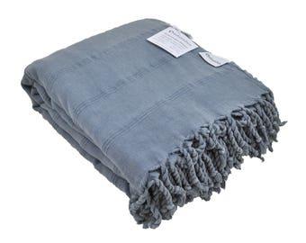 Denim Blue Grey Turkish Blanket / Throw Blanket, Stonewashed Luxury Bed Cover, Stone Washed Sofa Throw, Large Beach Blanket, Furniture Throw