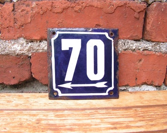 Vintage French Blue White Enamel Sign 70 Porcelain Street House Number 70 Enamel Metal Plate 70 Wall Hangings