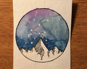 Aquarius Constellation Mountain Galaxy Watercolor