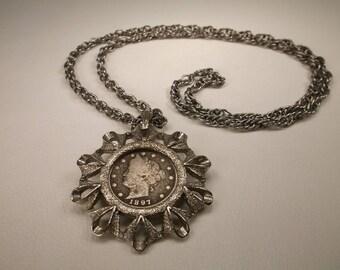Beautiful Vintage 1897 US V Nickel Silvertone Necklace Pendant 23 Inch Length