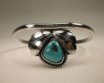 Stunning Vintage Navajo Old Pawn Sterling Silver Turquoise Cuff Bracelet 925