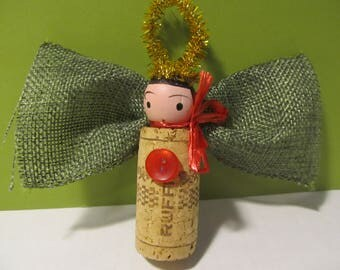 Wine cork angel Christmas ornament holiday gift tag bottle charm OOAK sweet with gold halo, ribbon wings and bow