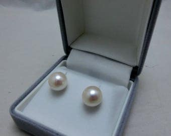 Japanese Cultured Akoya Pearl 9.0 MM Stud Earrings 18K YG Extra Large with Gift-wrapping!