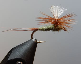 Three (3) Parachute Adams Mayfly flies, size 12-18, for fly fishing