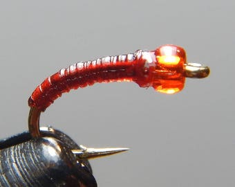 Three (3) Red Hot Annelid Midge flies, sizes 18-24, for fly fishing, trout flies, fly fishing flies, fishing flies