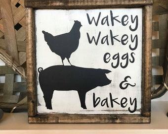 Wakey Wakey Eggs & Bakey Distressed Rustic Farmhouse Style Framed Wood Sign