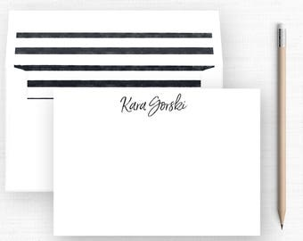 Personalized Stationary Set  - Flat Notecards + Lined Envelopes (Sets of 10) / Note Cards / Notecards / Black and White