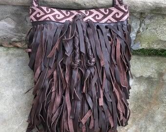 Lucky brand brown leather crossbody bag/ Topanga Canyon Fringe/ small bucket bag