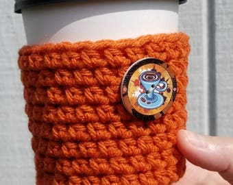 Pumpkin Spice Coffee Cup Sleeve with Button - Crocheted Everyday Cup Sleeve