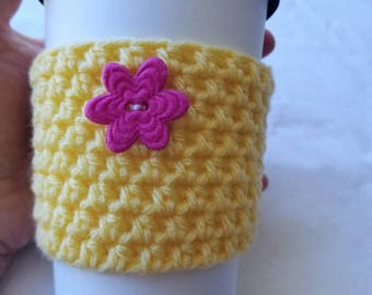 Flower Power Springtime Crochet Cup Cozy - Medium Pink Felt Button Everyday Cup Sleeve in Buttercup