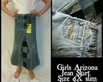 Girls size 6x slim modest jean skirt adjustable waist