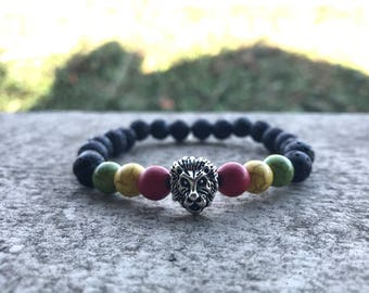 Lava Rock Rasta Lion Head Bracelet
