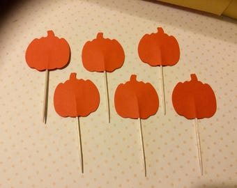 """HALLOWEEN/THANKSGIVING Cupcake TOPPERS - Pumpkins - Made with Orange Cardstock - Sets of 12, 24 and 36 - Toppers measures 3.5"""" -"""