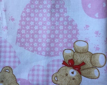 Pink Hearts and Teddy Bears 100% Cotton Fabric